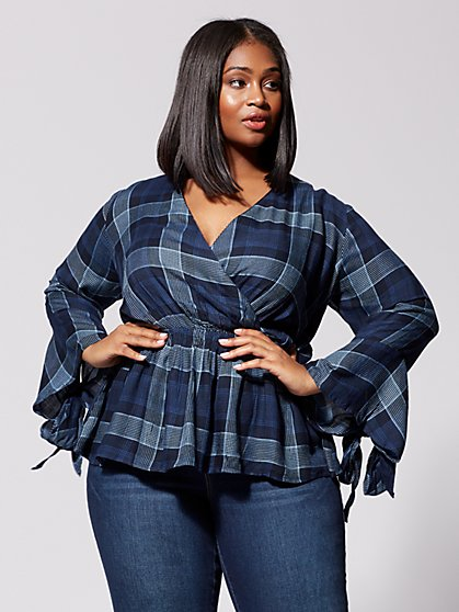 Plus Size Courtney Plaid Peplum Top - Fashion To Figure