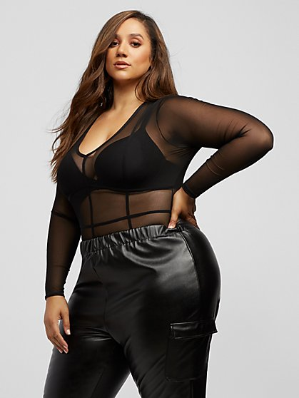 Plus Size Cozetta Long Sleeve Mesh Bodysuit - Fashion To Figure