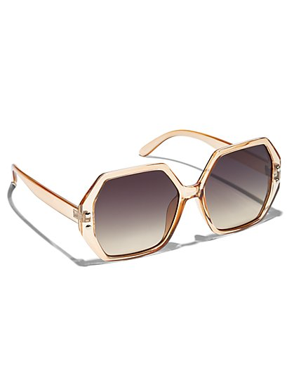 Plus Size Cream Hexagonal Sunglasses - Fashion To Figure