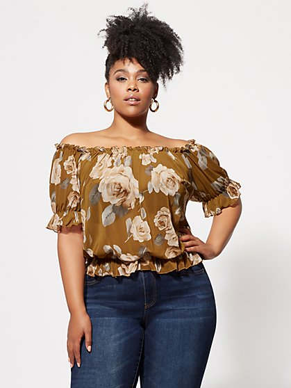 Plus Size Cressida Floral Mesh Top - Fashion To Figure