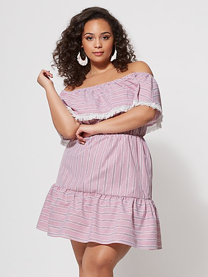 Plus Size Crista Off-Shoulder Striped Dress - Fashion To Figure