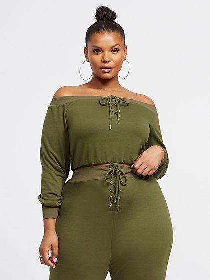 Plus Size Cristina Lace-Up Crop Top - Fashion To Figure