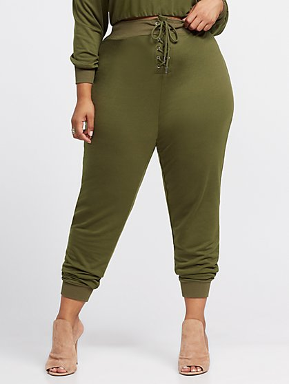 Plus Size Cristina Lace-Up Sweatpants - Fashion To Figure