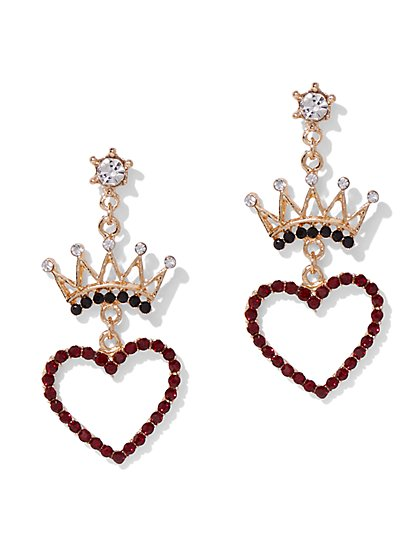 Plus Size Crown Heart Dangle Earring - Fashion To Figure