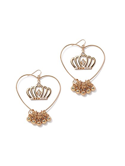 Plus Size Crown Heart Hoop Earrings - Fashion To Figure