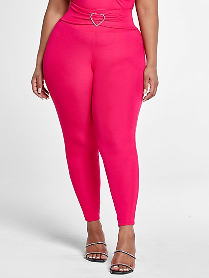 Plus Size Crystal Rhinestone Detail Active Leggings - Fashion To Figure