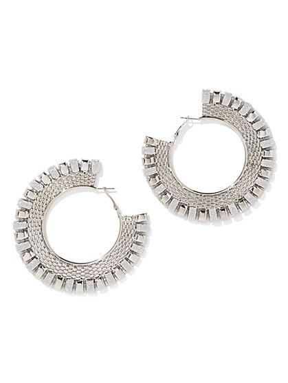 Plus Size Curb Chain Hoop Earrings - Fashion To Figure