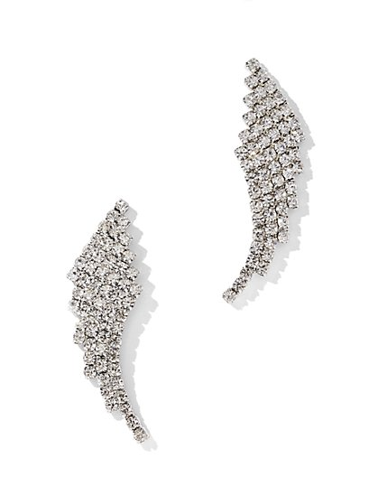 Plus Size Curved Rhinestone Earrings - Fashion To Figure