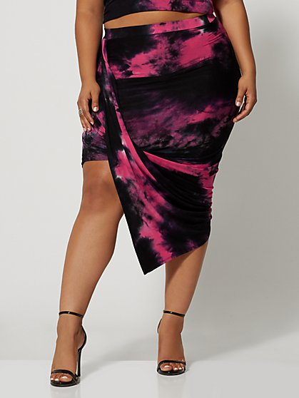 Plus Size Dabria Tie-Dye Drape Skirt - Fashion To Figure