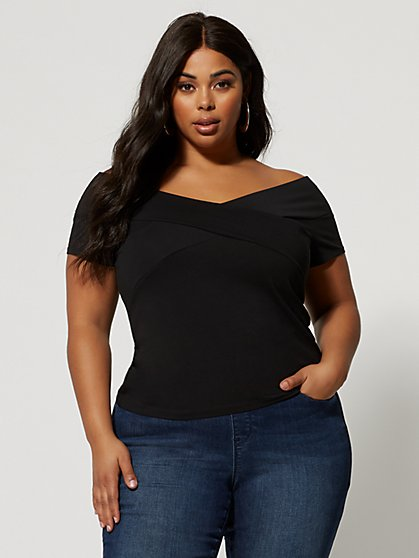 Plus Size Dakota Cross-Front Off Shoulder Top - Fashion To Figure