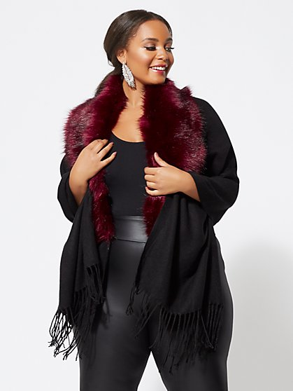 Plus Size Dakota Ruana With Faux-Fur Trim - Fashion To Figure