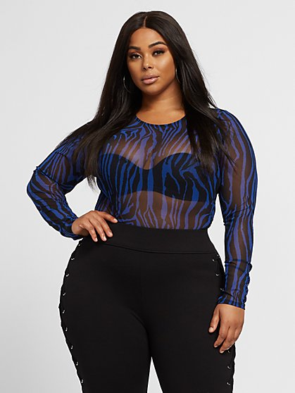 Plus Size Dalida Zebra Print Mesh Top - Fashion To Figure