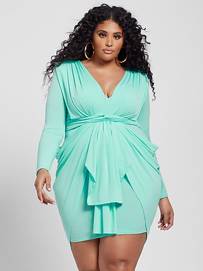 Plus Size Dana Tie Front Drape Dress - Fashion To Figure