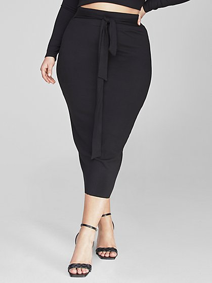 Plus Size Danae Tie Knot Sweater Skirt - Fashion To Figure