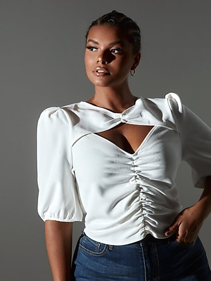 Plus Size Danica Keyhole Ruched Top - Fashion To Figure