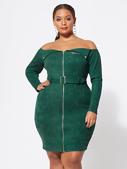 Plus Size Danielle Faux-Suede Moto Dress - Fashion To Figure