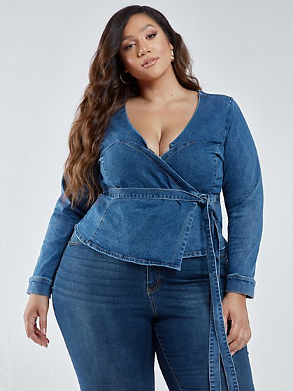 Plus Size Danielle Wrap Denim Top - Fashion To Figure