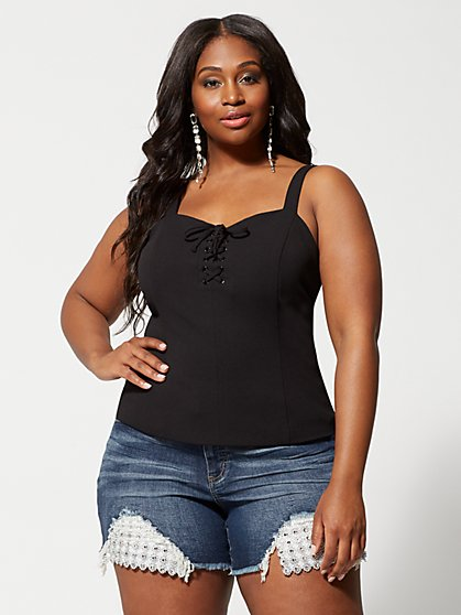 Plus Size Danika Lace-Up Tank Top - Fashion To Figure