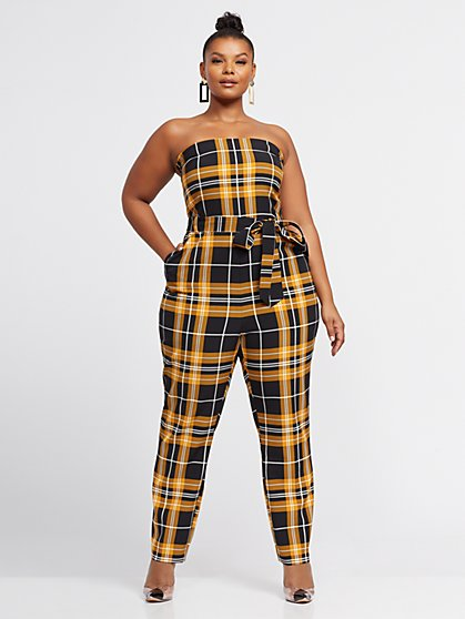 Plus Size Danika Plaid Strapless Jumpsuit - Fashion To Figure