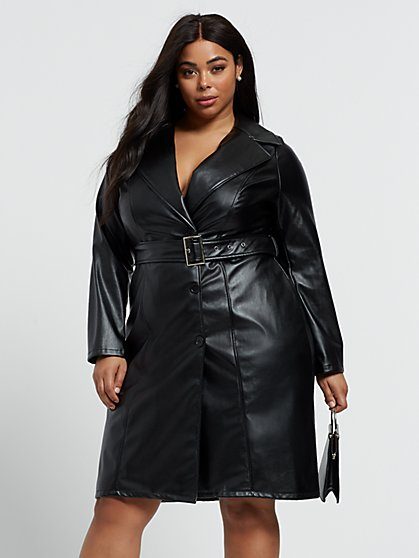 Plus Size Danisa Faux-Leather Blazer Dress - Fashion To Figure