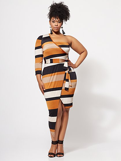 Plus Size Daphne One-Shoulder Dress - Fashion To Figure