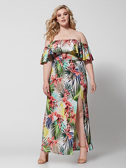 Plus Size Darcy Off Shoulder Tropical Maxi Dress - Fashion To Figure