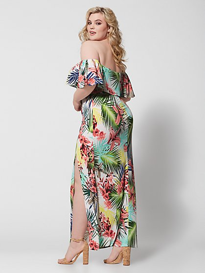 57c14fcce ... Plus Size Darcy Off Shoulder Tropical Maxi Dress - Fashion To Figure ...