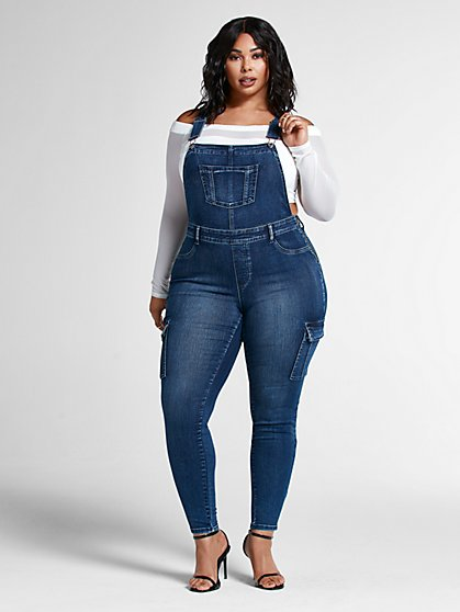Plus Size Dark Blue Wash Denim Cargo Overalls - Fashion To Figure