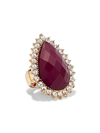 Plus Size Dark Red Rhinestone Teardrop Ring - Fashion To Figure