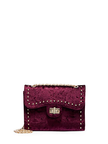 Plus Size Dark Red Velvet Bag - Fashion To Figure