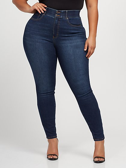 Plus Size Dark Wash Curvy Skinny Jeans - Short Inseam - Fashion To Figure