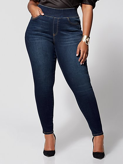 Plus Size Dark Wash High-Rise Jeggings - Tall Inseam - Fashion To Figure
