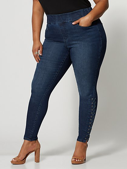 Plus Size Dark Wash High-Rise Lace-Up Jeggings - Fashion To Figure