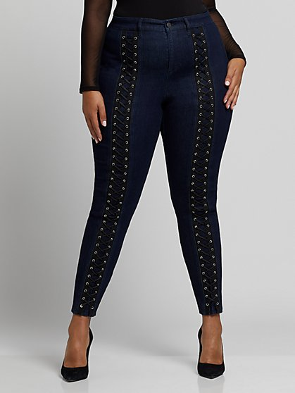 Plus Size Dark Wash Lace-Up Skinny Jeans - Fashion To Figure