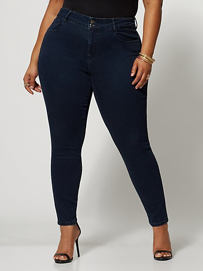 Plus Size Dark Wash Premium Mid-Rise Skinny Jeans - Fashion To Figure