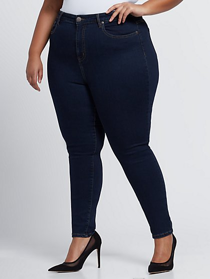 Plus Size Dark Wash Premium Sky High-Rise Skinny Jeans - Fashion To Figure