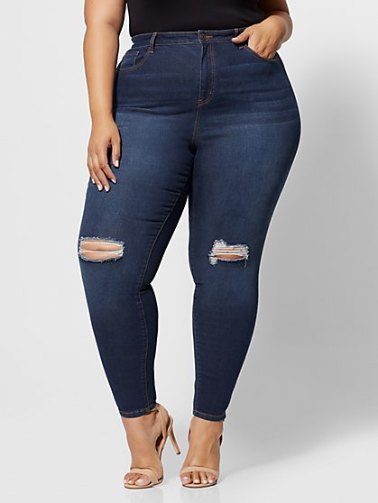 Plus Size Dark Wash Sky High-Rise Skinny Jeans - Fashion To Figure