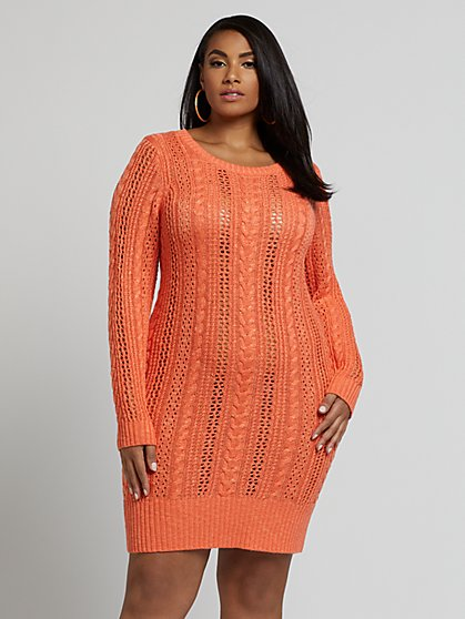 Plus Size Darlene Open Cable Sweater Dress - Fashion To Figure