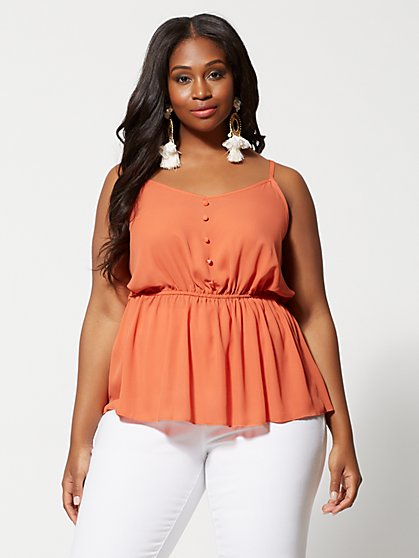 Plus Size Dasha Button Peplum Tank Top - Fashion To Figure
