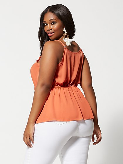 4c1562e6a9f ... Plus Size Dasha Button Peplum Tank Top - Fashion To Figure ...