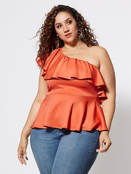 8c98b1c09db36 Plus Size Dasia One Shoulder Ruffle Peplum Top - Fashion To Figure ...