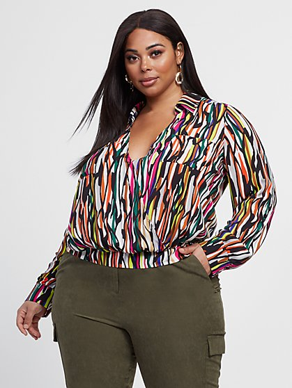 Plus Size Dawn Wrap Printed Top - Gabrielle Union x FTF - Fashion To Figure