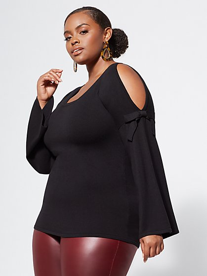 Plus Size Dawson Cold-Shoulder Sweater - Fashion To Figure