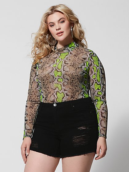 Plus Size Daya Snake Print Mesh Top - Fashion To Figure