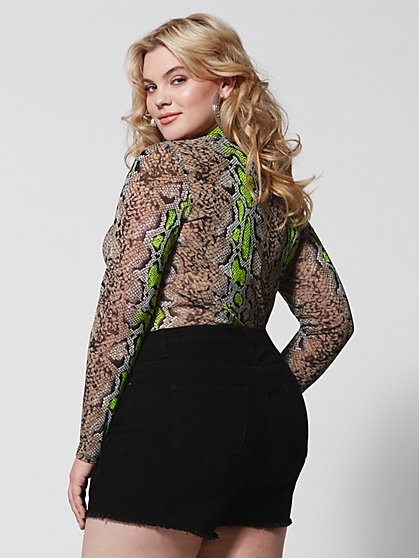1e207c603f6 ... Plus Size Daya Snake Print Mesh Top - Fashion To Figure ...