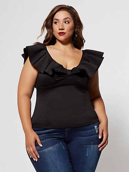 Plus Size Dayna Ruffle-Shoulder Top - Fashion To Figure