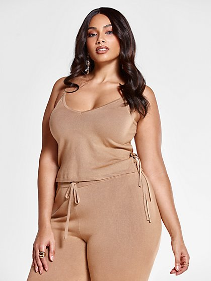 Plus Size Deana Knit Tank with Side Tie - Fashion To Figure