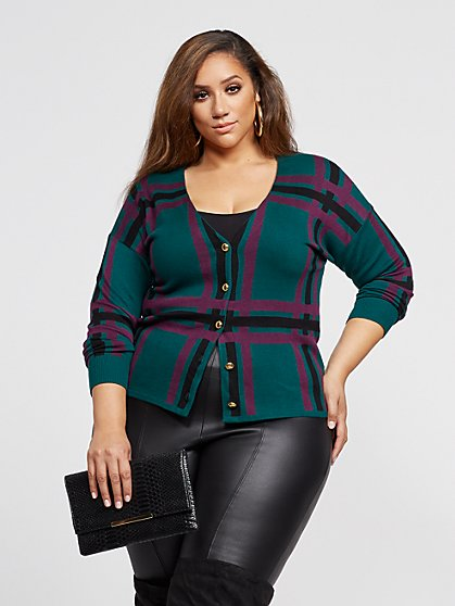 Plus Size Debbi Plaid Button-Up Cardigan Sweater - Fashion To Figure