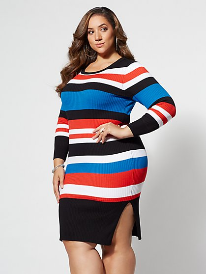 Plus Size Debbie Striped Sweater Dress - Fashion To Figure