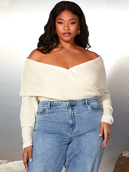 Plus Size Debi Off The Shoulder Wrap Sweater - Garnerstyle x FTF - Fashion To Figure